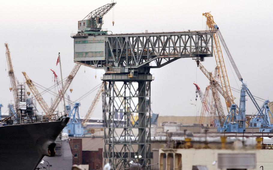 The hammerhead crane at Norfolk Naval Shipyard in Portsmouth, photographed on Friday, January 25, 2013.