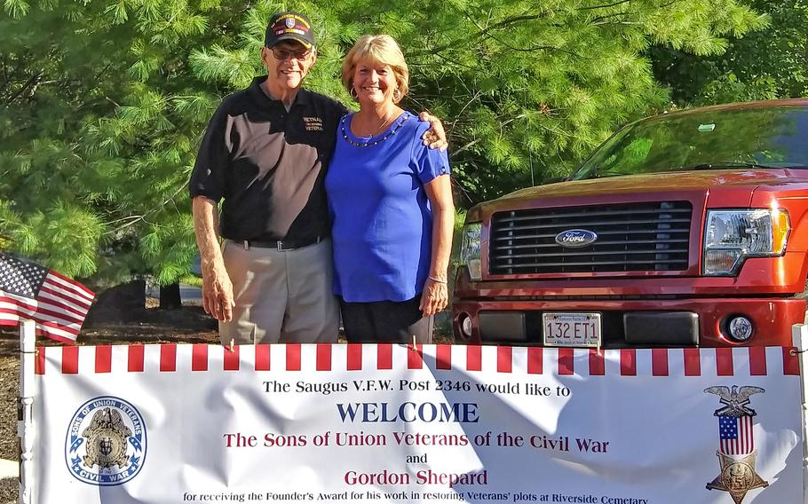 The Sons of the Union Civil War Soldiers honored Gordon Shepard, seen here with his wife Deborah in August 2019, for his work on the Civil War section at Riverside Cemetery in Saugus, Mass.