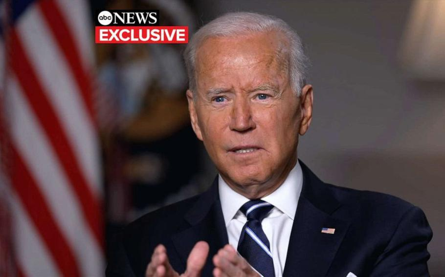 President Joe Biden said in an interview with ABC News Wednesday that the U.S. military may stay in Afghanistan beyond the Aug. 31 withdrawal deadline to ensure every American citizen is able to leave the country.
