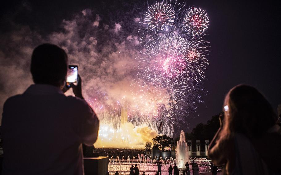 Fireworks light up the sky in Washington, D.C., on July 4, 2020. According to reports on Saturday, June 26, 2021, a fireworks display will take place at Fort George G. Meade in Maryland on July 2.