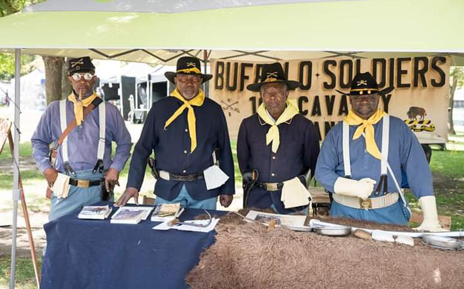 Members of the living history group Buffalo Soldiers: 10th Cavalry, Co. G of Northern California.