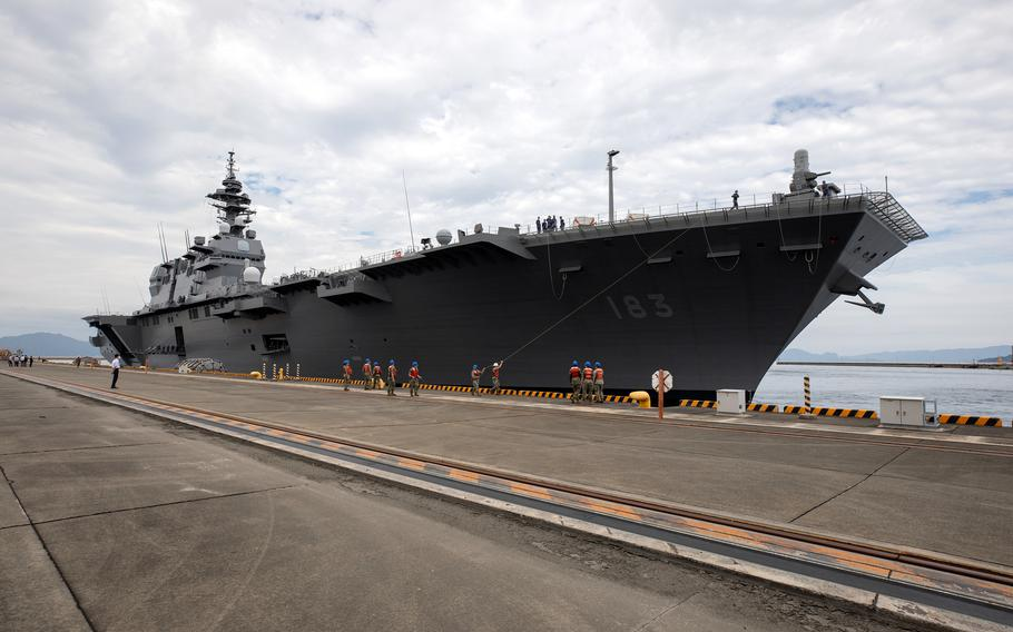 The Japanese helicopter carrier JS Izumo arrives at Marine Corps Air Station Iwakuni, Japan, Thursday, Sept. 30, 2021.