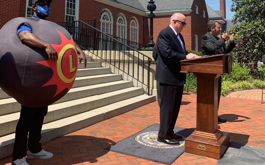 Maryland Gov. Larry Hogan announces the launch of the state's coronavirus vaccination lottery in a news conference May 20 in Annapolis.