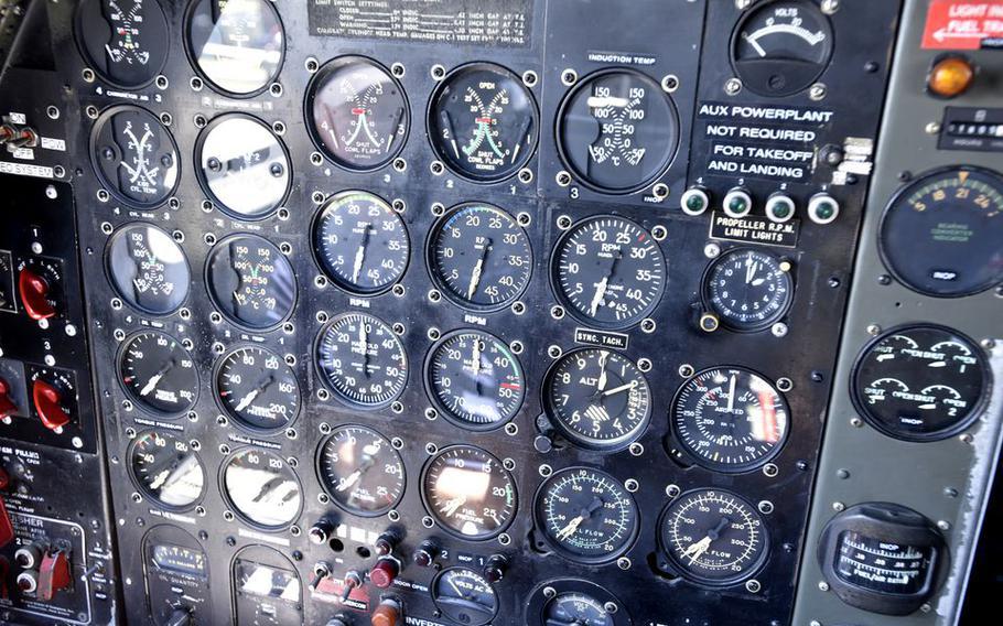"Gauges in the cockpit of ""Fifi."""
