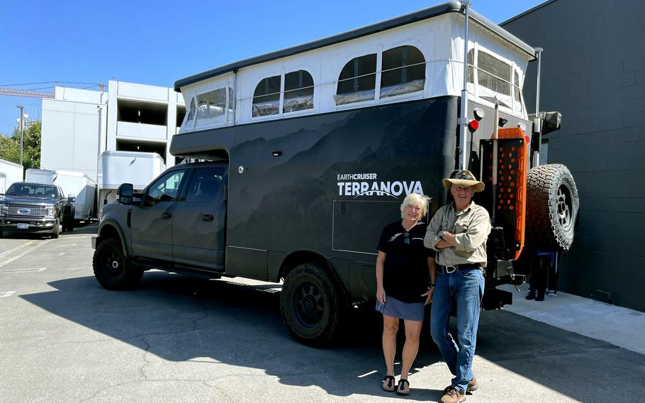 EarthCruiser founders Michelle Boltz and Lance Gillies with the company's Terranova overland expedition vehicle in Los Angeles.