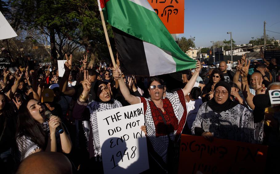 Palestinian citizens of Israel demonstrate in Jaffa against Israeli airstrikes against Gaza in May 2021.