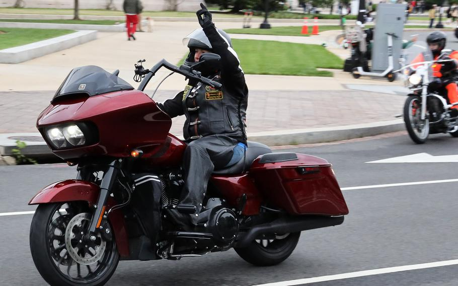 Motorcyclists taking part in the Rolling to Remember ride move down Constitution Ave. in Washington, D.C., May 30, 2021.