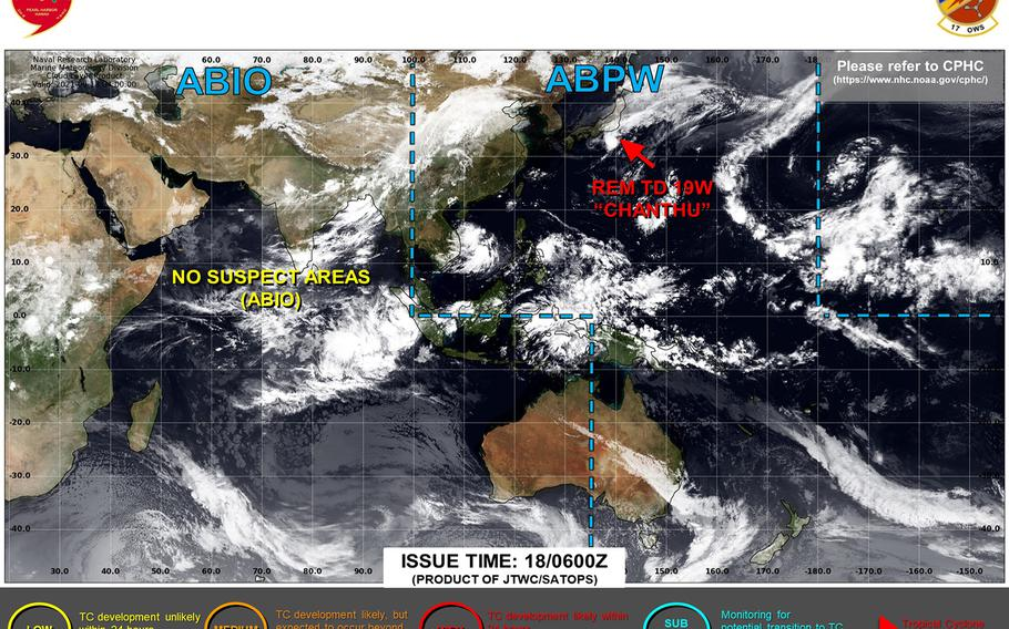 Chanthu forecast to die out southeast of Tokyo, brings to an end what at one time was the strongest tropical system in the world this year.
