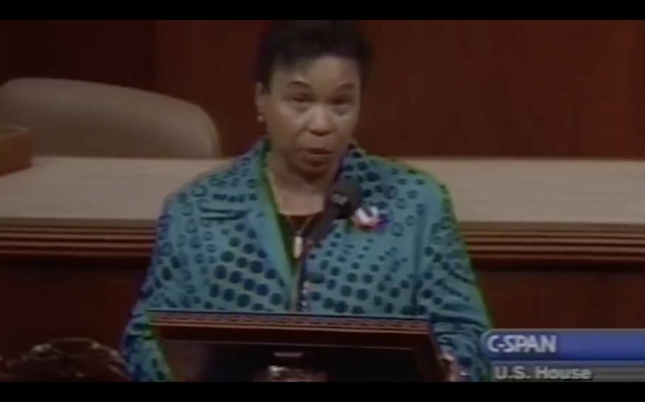 Barbara Lee speaks in 2001.