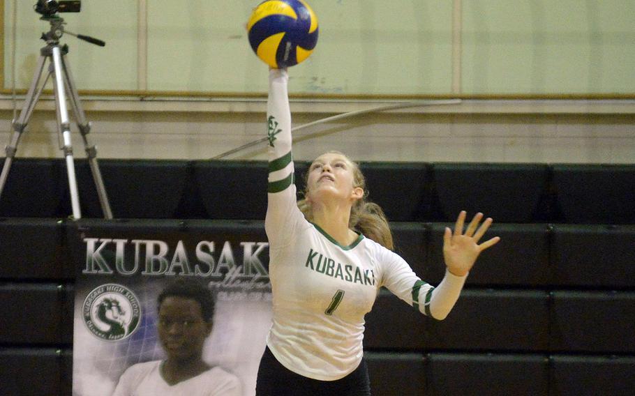 Kubasaki's Emma Leggio recorded 12 kills against Kadena during Thursday's Okinawa volleyball match.