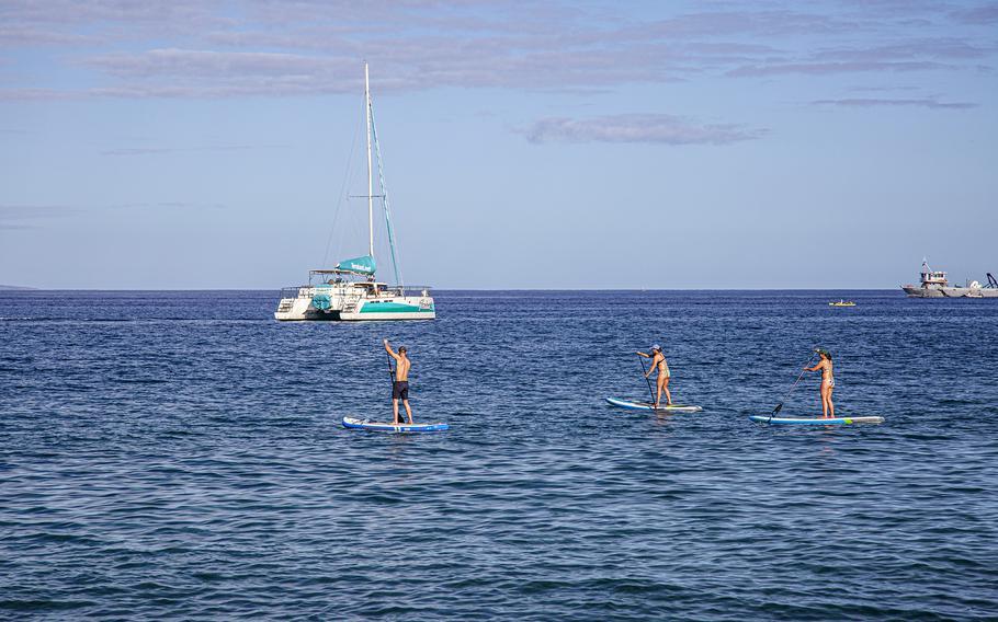 People paddleboard close to shore on Maui.