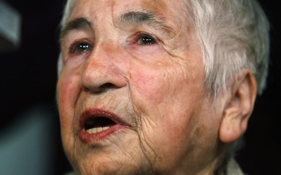 Esther Bejarano, who survived former Nazi concentration camp Auschwitz, performs a hip-hop song during an Auschwitz-Committee event to commemorate the liberation of Auschwitz by the Soviet Army on January 27, 1945, in Hamburg, Germany, Jan. 24, 2010.