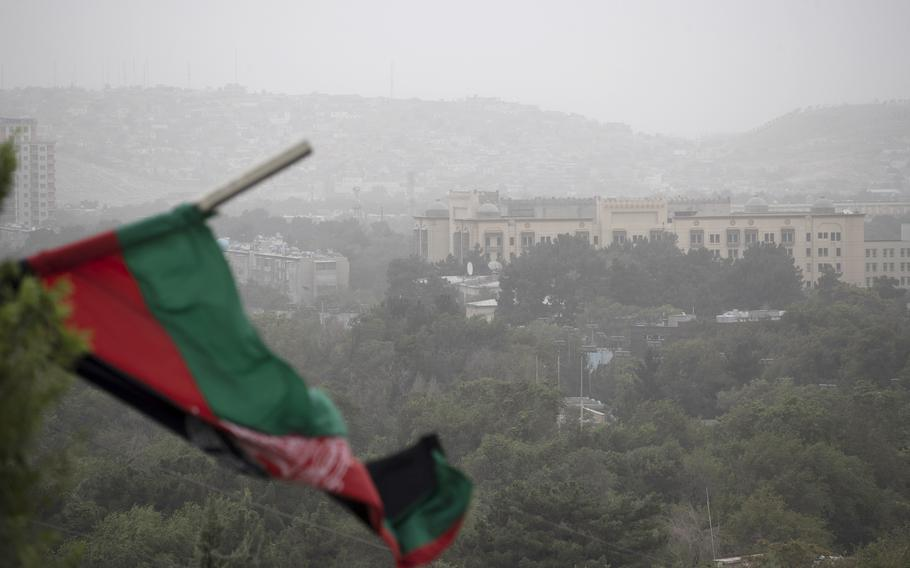 The U.S. Embassy compound at Massoud Circle in Kabul, Afghanistan, on Aug. 14, 2021.