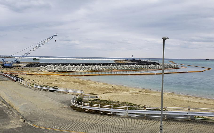 Construction work for a runway into Oura Bay is pictured at Camp Schwab, Okinawa, Jan. 19, 2019.