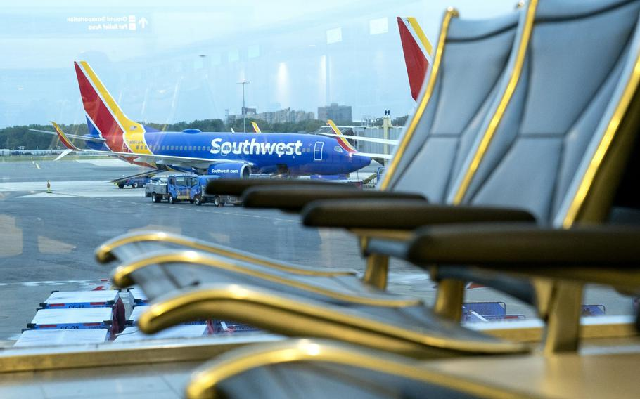 A Southwest Airlines plane at Ronald Reagan National Airport in Arlington in May 2021.