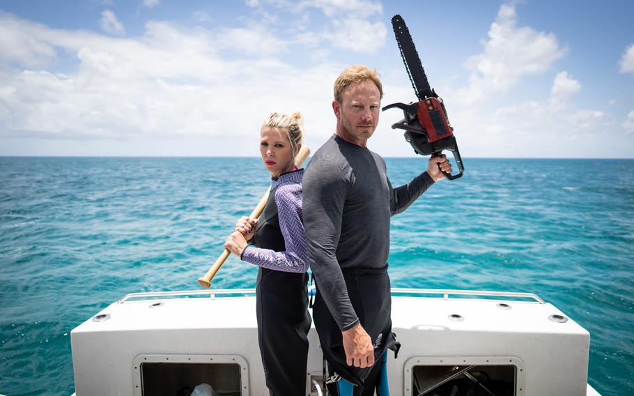"Tara Reid and Ian Ziering of ""Sharknado."""