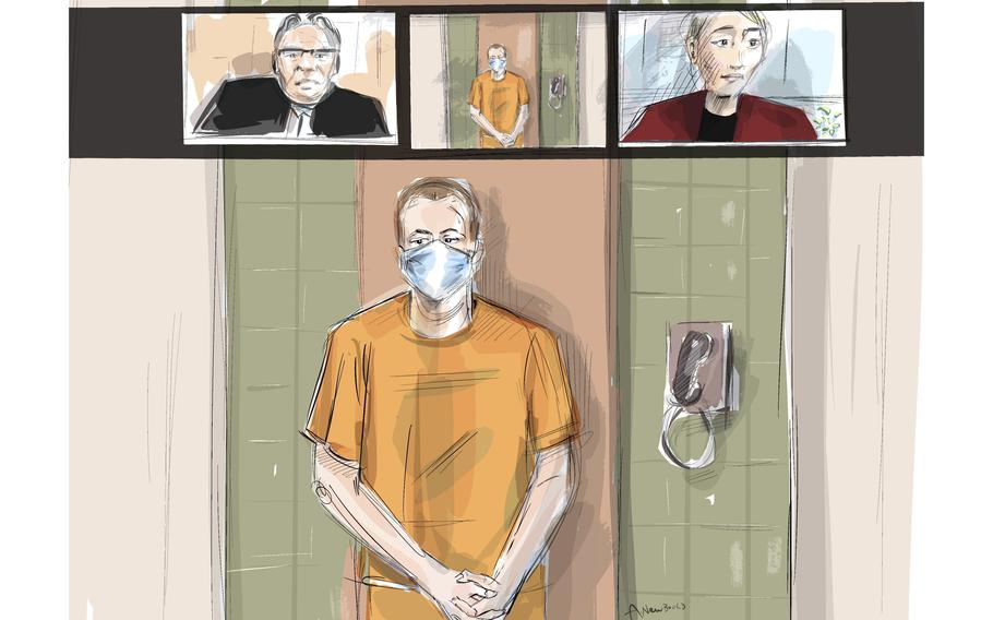 An artist's sketch depicts Nathaniel Veltman as he makes a virtual appearance in court, Thursday, June 10, 2021, in London, Ontario, as Justice of the Peace Robert Seneshen, top left, and lawyer Alayna Jay look on. Veltman, accused of deliberately running over and killing four members of a Muslim family in London, Ontario, had his case adjourned to next week.