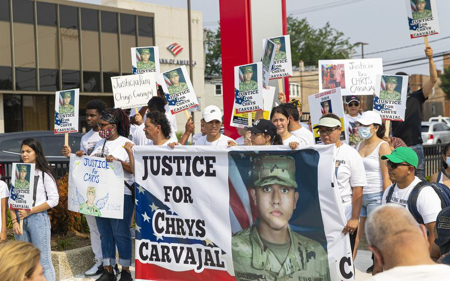 Community members and the family of Chrys Carvajal, the 19-year old National Guard member killed over the July Fourth weekend, rally for peace in the Belmont-Cragin neighborhood of Chicago on Saturday, July 24, 2021.