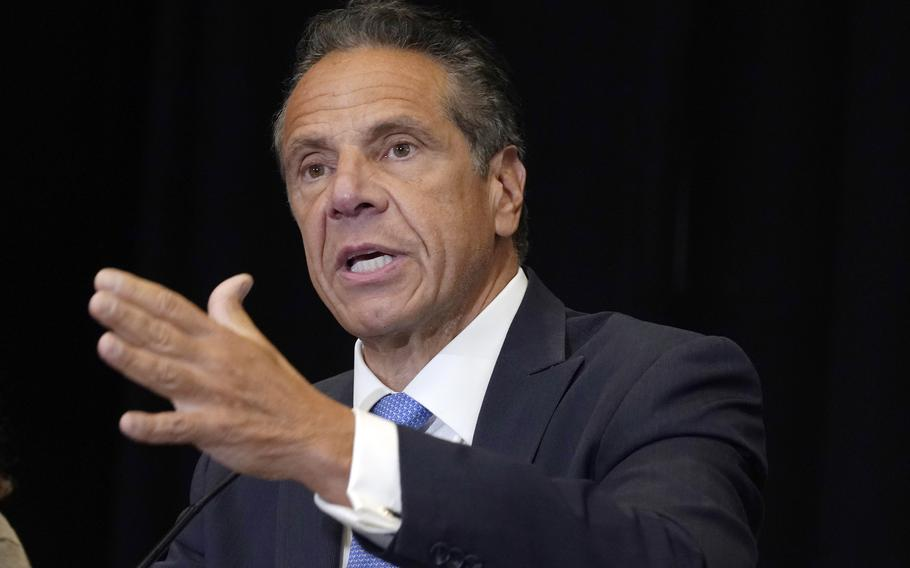FILE - New York Gov. Andrew Cuomo speaks during a news conference at New York's Yankee Stadium, Monday, July 26, 2021.