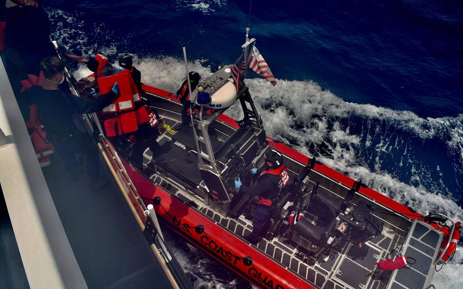 The Coast Guard Cutter Winslow Griesser rescues 48 Haitian migrants stranded on Monito Cay, Puerto Rico, in the Mona Passage Aug. 12, 2021. The migrants were transported to Mayaguez, Puerto Rico, where they transferred to U.S. Border Patrol custody and assisted by Emergency Medical Service personnel.