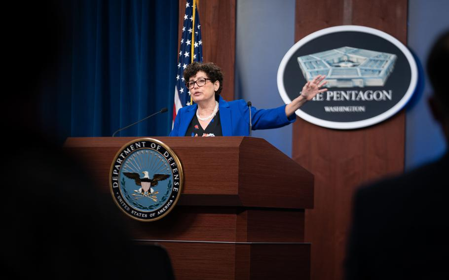 Lynn Rosenthal, lead in the Department of Defense's 90-day Independent Review Commission on sexual assault and harassment, and Pentagon Press Secretary John F. Kirby deliver a briefing to the press at the Pentagon, March 24, 2021.