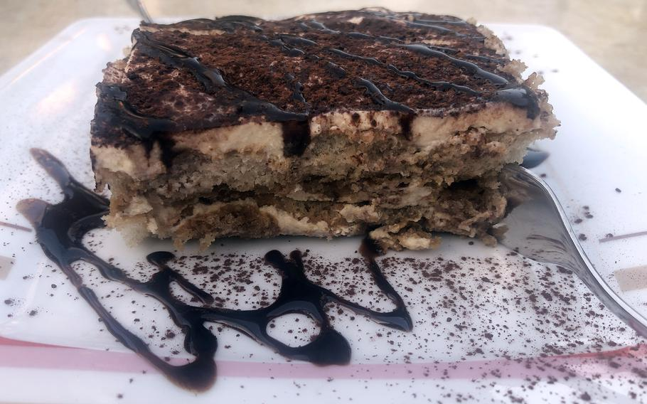 The house-made tiramisu at Piazza in Griesheim, Germany, was delicious, with that perfect texture when the ladyfingers are soaked just right.