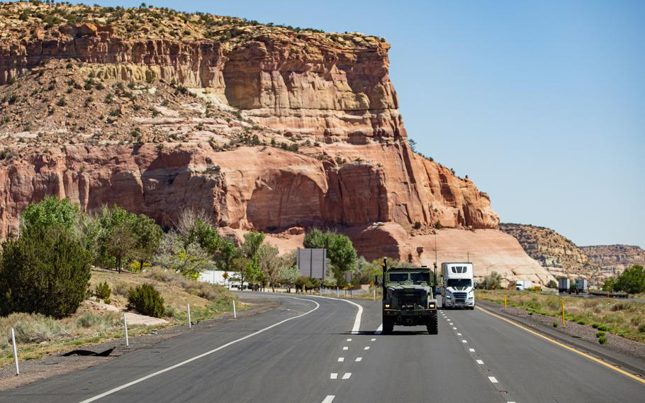 Marines drive down the highway near Lupton, Ariz., May 13, 2021. Marines with 2nd Transportation Battalion, Combat Logistics Regiment 2, 2nd Marine Logistics Group crossed the United States in one of the longest convoys in the service's history.
