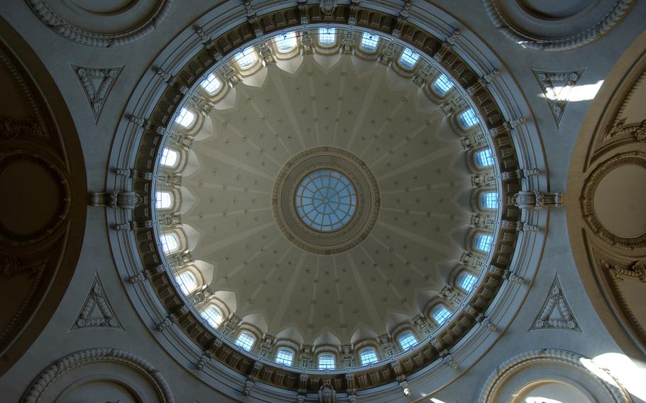 The dome of the U.S. Naval Academy Chapel in Annapolis, Md. Weddings at theNaval Academychapel were stopped fromMarch 14, 2020, toMay 29, 2021, saidBrenda Stone, senior events and wedding coordinator.