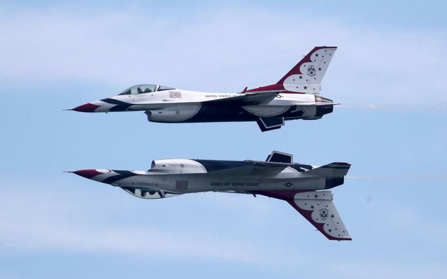 The USAF Thunderbirds perform during the 2019 Atlantic City Airshow on Aug. 21, 2019.