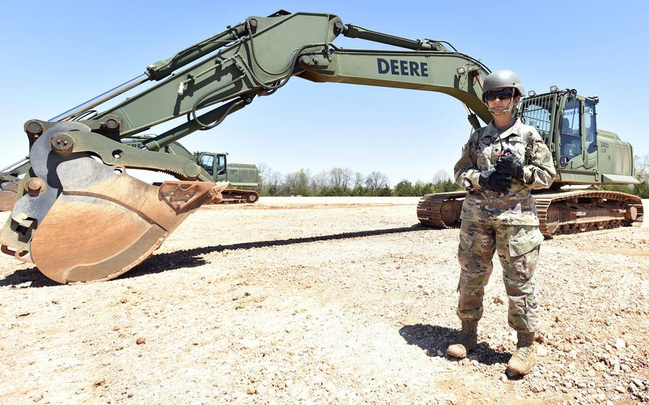 Army Spc. Zainab Olivo takes part in engineer training earlier this year with Company D, 554th Engineer Battalion at Fort Leonard Wood, Mo.