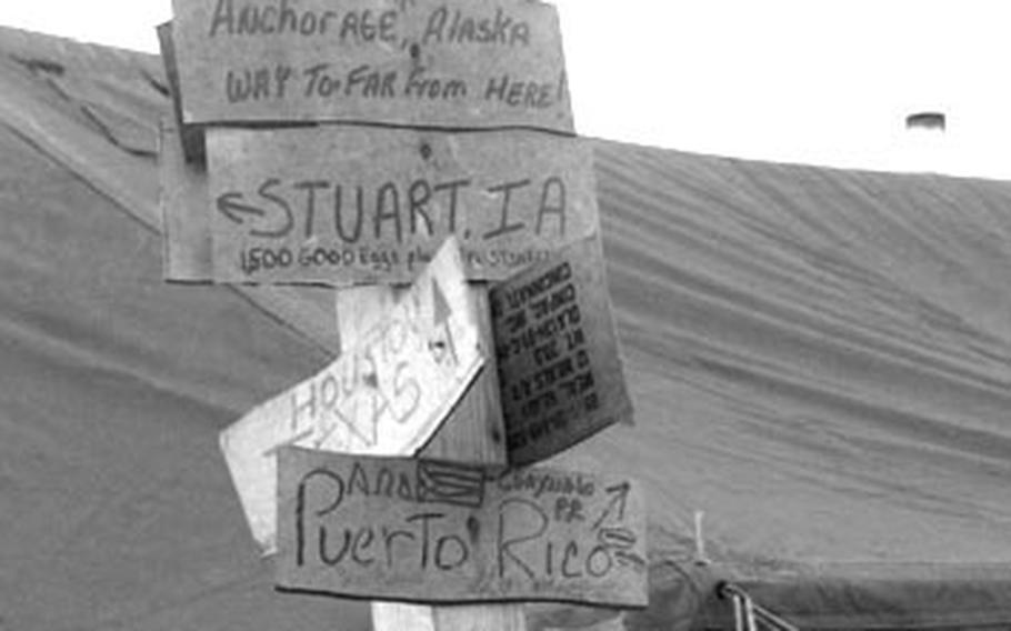 Taszar AB, Hungary, January, 1996: The signs of the times at Taszar AB.
