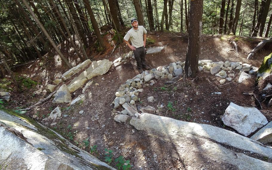 Infrastructure and conservation manager Camille-Antoine Ouimet on the newest section of the Des Escarpements trail in Mont-Mégantic National Park.