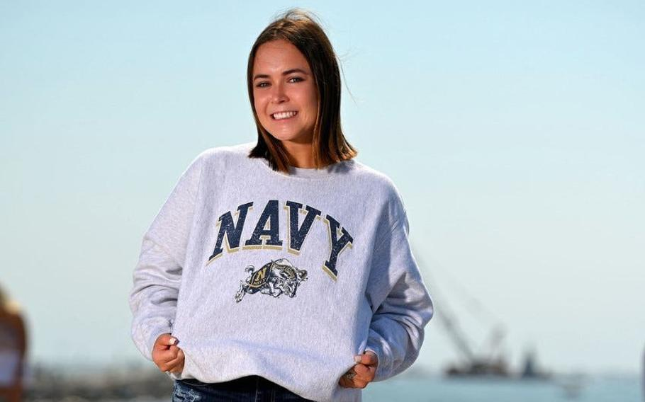 Elizabeth Meyer, an incoming U.S. Naval Academy plebe from Port Orange, Fla., is following in the footsteps of her great-grandfather, a West Point graduate.