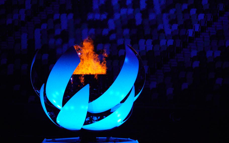 The Paralympic flame burns during closing ceremonies for the Tokyo games at National Stadium, Sunday, Sept. 5, 2021.