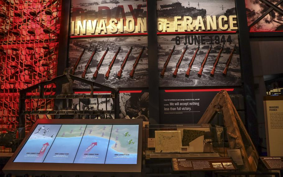 An exhibit about the World War II invasion of France at the National Museum of the United States Army on its reopening day, June 14, 2021.