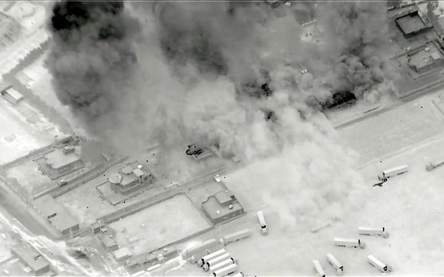A screenshot from a U.S. Central Command video showing airstrikes against suspected militia storage facilities near the Syria-Iraq border, June 27, 2021. But U.S. military officials disputed reports that an American drone attack recently destroyed an Iran-backed militias truck in eastern Syria, labeling it disinformation.