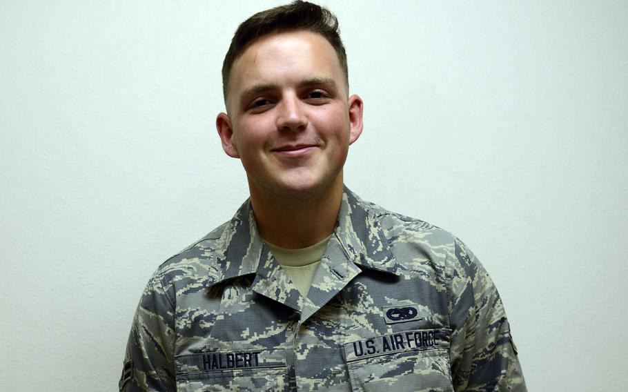 Britton Halbert poses for a photo in September 2015 when he was an airman first class with the 703rd Aircraft Maintenance Squadron at Joint Base Elmendorf-Richardson, Alaska.