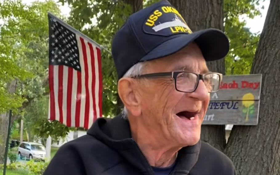 Navy veteran Kenny Jary, 79, who served aboard the amphibious assault ship USS Okinawa in the early 1960s, smiles in this screenshot from his TikTok account, @PatrioticKenny.