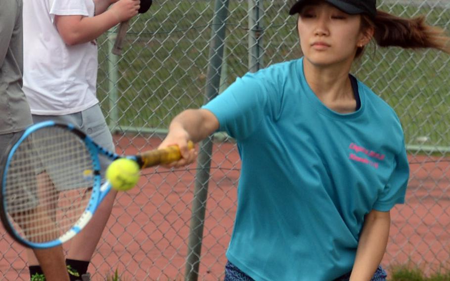 Senior Karina Morioka is one of two returners from 2019 for Yokota's tennis team.