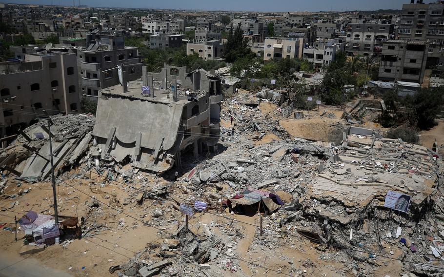 The remains of the destroyed buidling where Kayan Abu Safiya's family lived before the 11-day war between Israel and Hamas, in Beit Lahia, Gaza, on May 27, 2021.