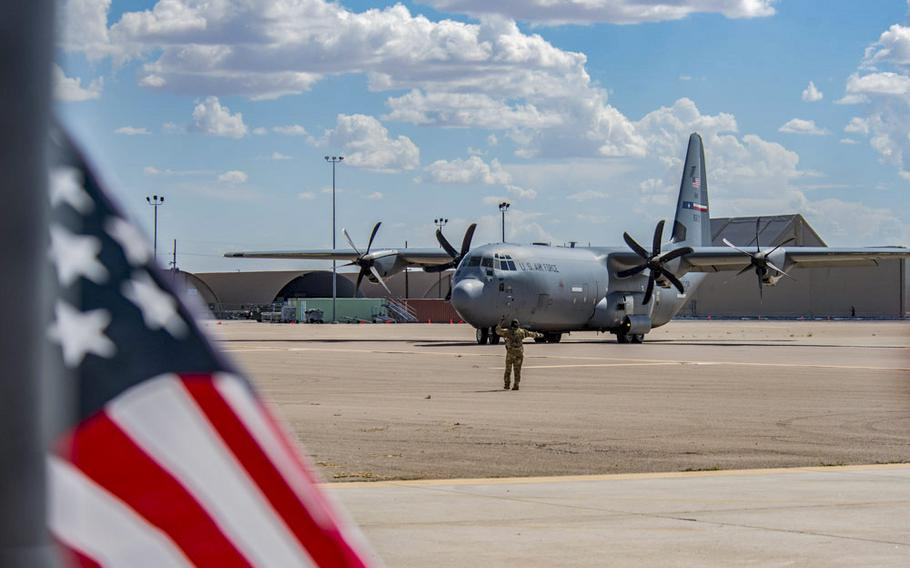 A C-130J Super Hercules carrying Afghan personnel taxis on the ramp at Holloman Air Force Base, New Mexico, Aug. 31, 2021.