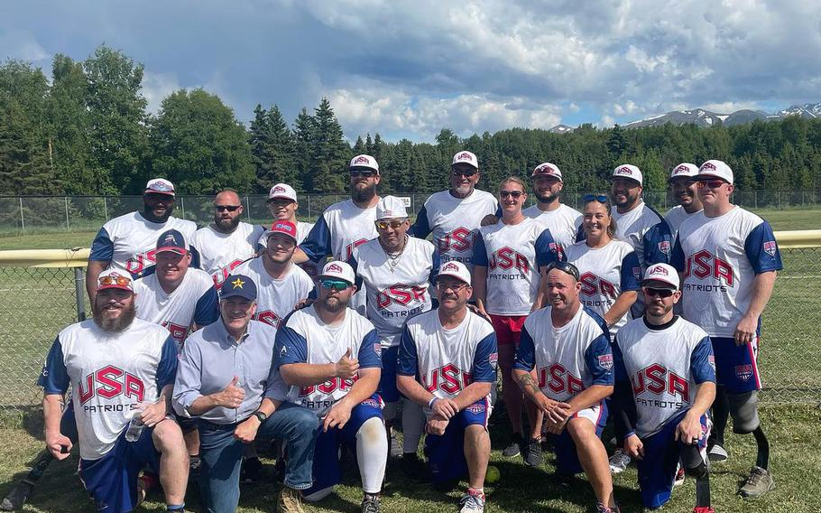 The USA Patriots won two of their six games at the Pot of Gold tournament in Alaska. They met U.S. Sen. Dan Sullivan, bottom row, second from left.