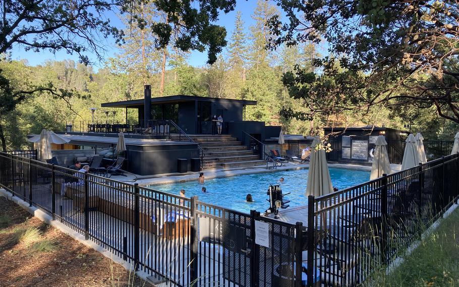 AutoCamp Yosemite's guests enjoy the seasonally heated outdoor pool.