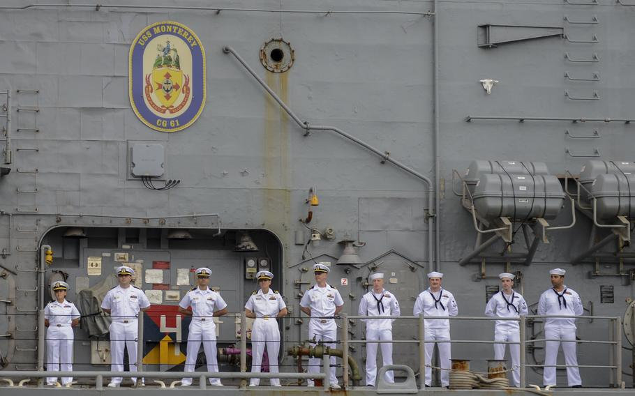 Sailors man the rails as the Ticonderoga-class guided-missile cruiser USS Monterey (CG 61) returns to homeport at Naval Station Norfolk on Sept. 17., 2921, following a nine-month deployment to the U.S. 5th and U.S. 6th Fleet areas of operation.