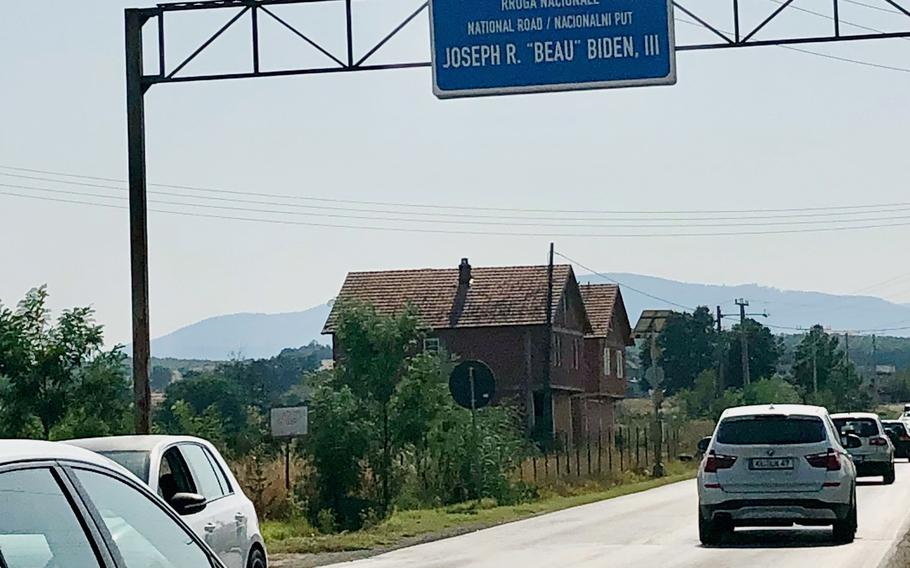 The road outside the main gate to Camp Bondsteel, the largest U.S. base in Kosovo, was renamed in 2016 after the son of President Joe Biden. Beau Biden, who served at the base in 2001, died of cancer in 2015.