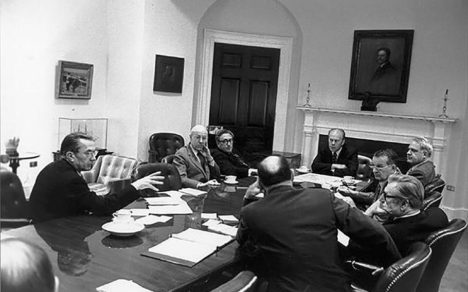 President Gerald Ford meets with the National Security Council on the situation in Saigon, April 28, 1975. (clockwise, left to right) CIA Director William Colby; Deputy Secretary of State Robert S. Ingersoll; Henry Kissinger; Defense Secretary James Schlesinger, Deputy Secretary of Defense William Clements, Vice President Nelson Rockefeller; Chairman of the Joint Chiefs of Staff Gen. George Brown.