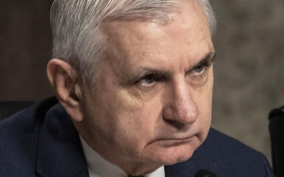 Sen. Jack Reed, D-R.I., listens during a Senate Armed Services Committee hearing in March, 2020.