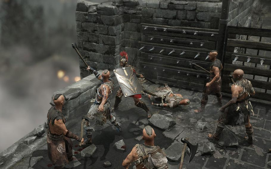 Marius marches into battle amid a formation of legionaries, each equipped with a rectangular shield, javelin-like pila and sword. If enemy archers launch a volley, Marius and his companions can link their shields to ward off the attack. Between volleys, Marius and crew throw their pila and advance on their foes.