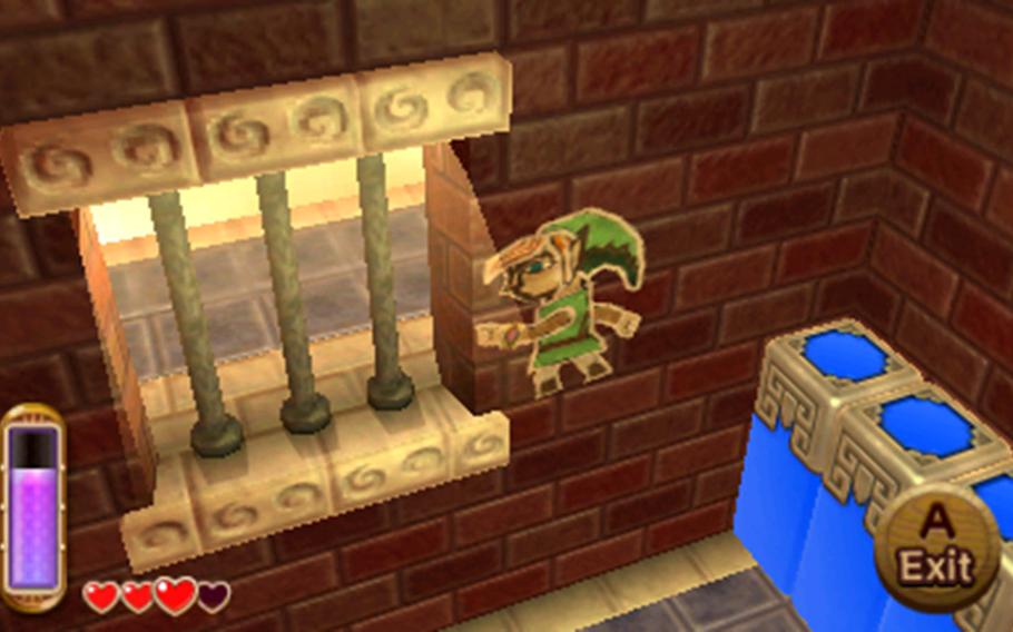 """Link can smash himself against walls in """"A Link Between Worlds,"""" making for some interesting puzzles and secret areas."""