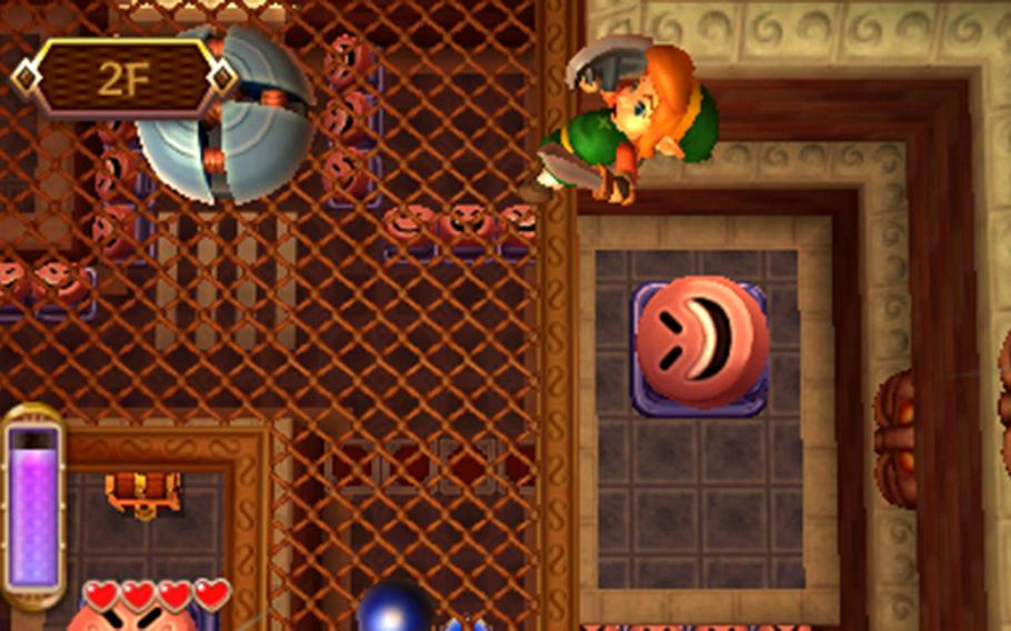 """""""Between Worlds"""" has Link solving many puzzles and dungeons vertically, making for a lot of situations that use the 3DS's 3-D slider well."""